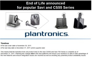 EOL announcement for Plantronics headsets